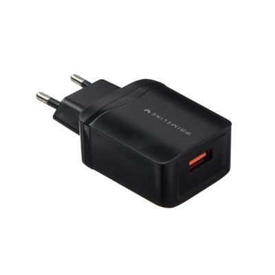 Сетевое зарядное устройство Prime Line, QC 3.0, USB, 3 А, черное - Фото 1