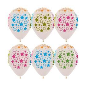 """Шар латексный 12"""" """"Звёзды"""", кристалл, 5-сторонний, многоцветный, флуоресцентный, набор 10 шт."""