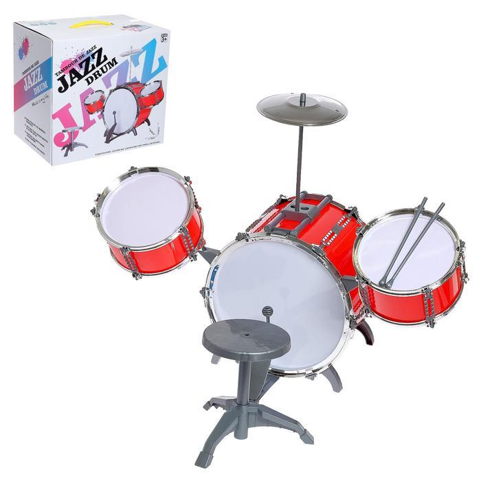 Барабанная установка Jazz, 3 барабана, тарелка, палочки, стульчик, МИКС