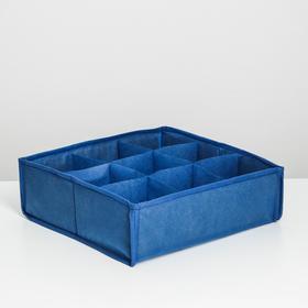 Органайзер для хранения секционный Eva, 9 ячеек, 30×30×10 см, цвет синий Ош