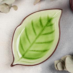 Блюдо сервировочное «Таллула. Лист», 17×10×2,5 см, цвет зелёный
