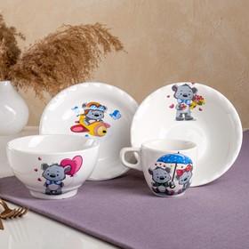 "Столовый набор ""Мишка"", 4 предмета: чашка 0.2 л, пиала 0.6 л, тарелка 17см, тарелка 0.45 л, микс"