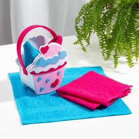 Набор полотенец в корзинке Этель «Пирожное» 30х30см - 2шт, цв.бирюза/фуксия, 100% хл