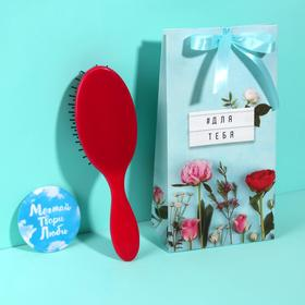 Подарочный набор «Для тебя», 2 предмета: зеркало, массажная расчёска, цвет МИКС Ош