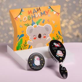 Подарочный набор «Коала», 2 предмета: зеркало, массажная расчёска Ош
