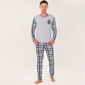 Комплект мужской (лонгслив, брюки), цвет серый/голубой, размер 48 Ош