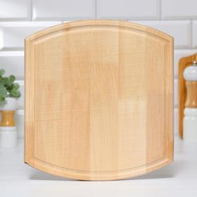 """Доска разделочная деревянная """"Прямоугольник выпуклый"""", с кровостоком, МАССИВ, 32×29,5×3 см"""