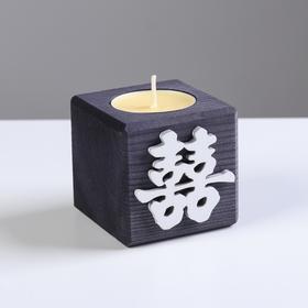 """Свеча в деревянном подсвечнике """"Куб, Иероглифы. Счастье"""", цвет: """"Эбен"""", 6х6х6 см, аромат манго 56644"""