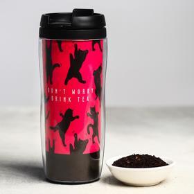 Чай чёрный «Котики», термостакан 350 мл, аромат лесные ягоды, 20 г.