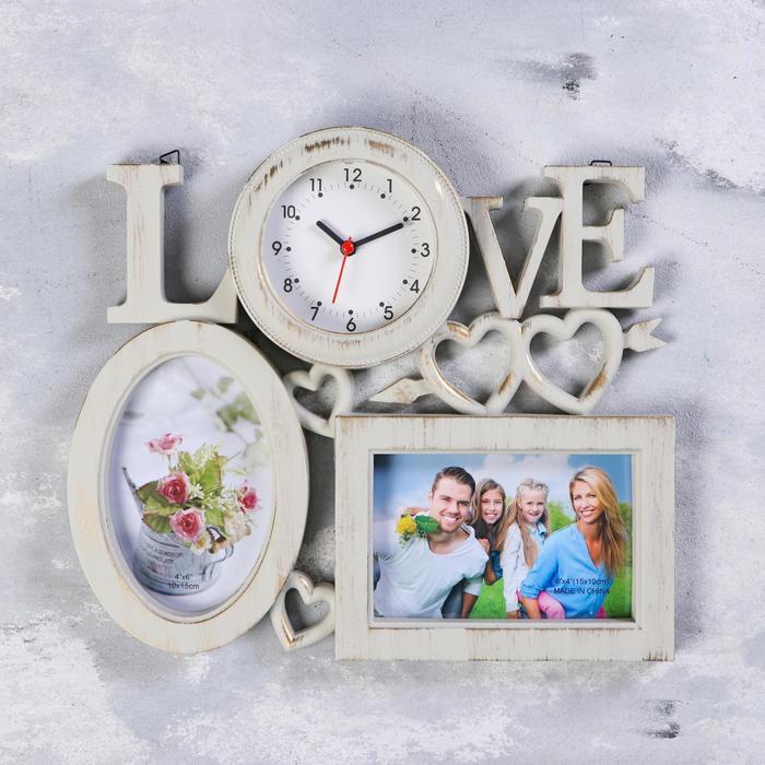 Часы настенные, серия Фото, Love, 2 фоторамки 10х15 см, d9 см, 31.5х28 см, плавный ход