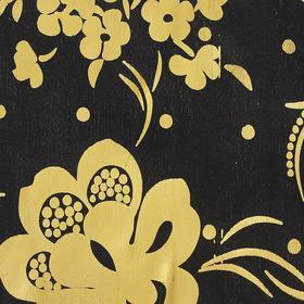 Ткань атлас черный с золотым рисунком, ширина 150 см Ош