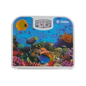 Весы напольные DELTA  D-9409, механические, до 130 кг, рисунок 'подводный мир' Ош