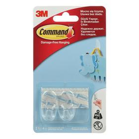 Легкоудаляемый крючок прозрачный дизайн Command маленький 450 гр