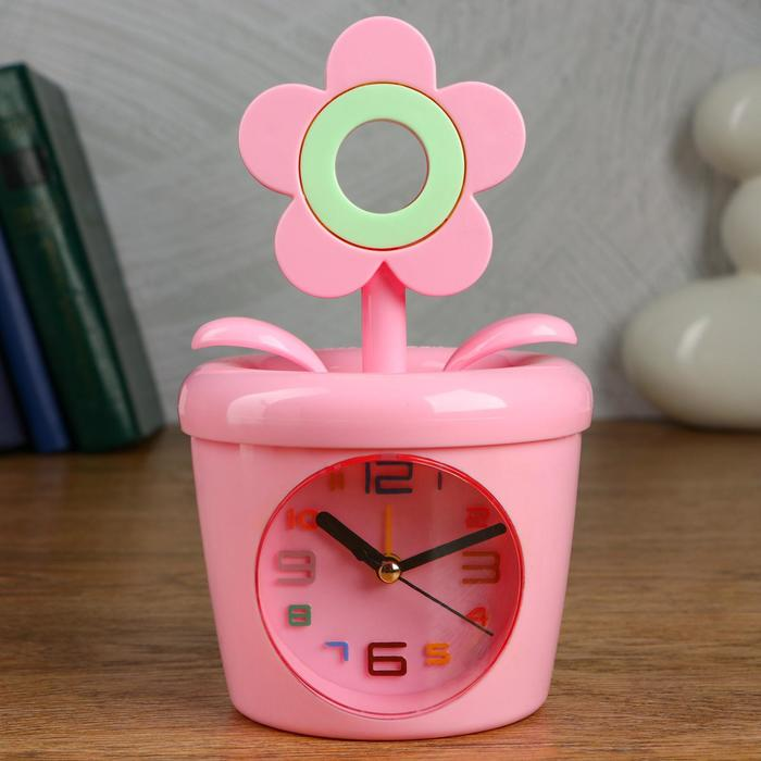 """Будильник-копилка детский """"Цветок"""" 11х20 см, дискретный ход, розовая"""