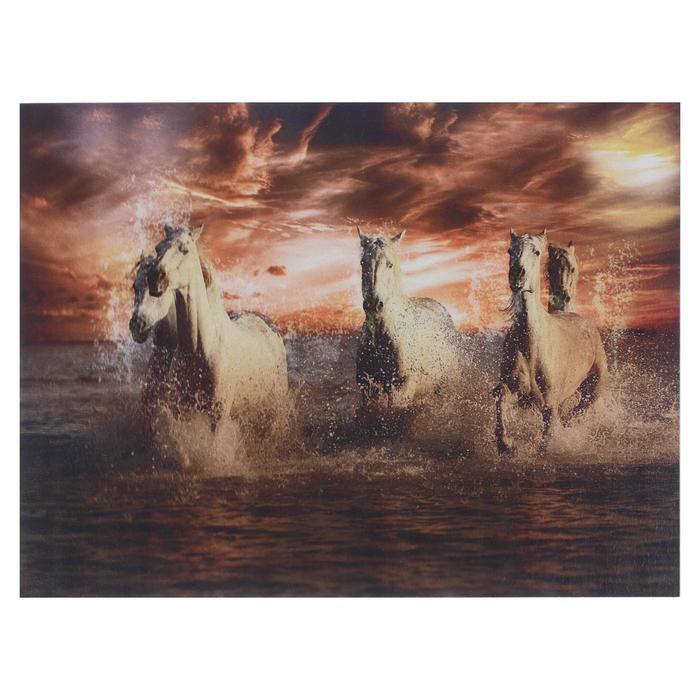 Картина Кони в море 30х40 см