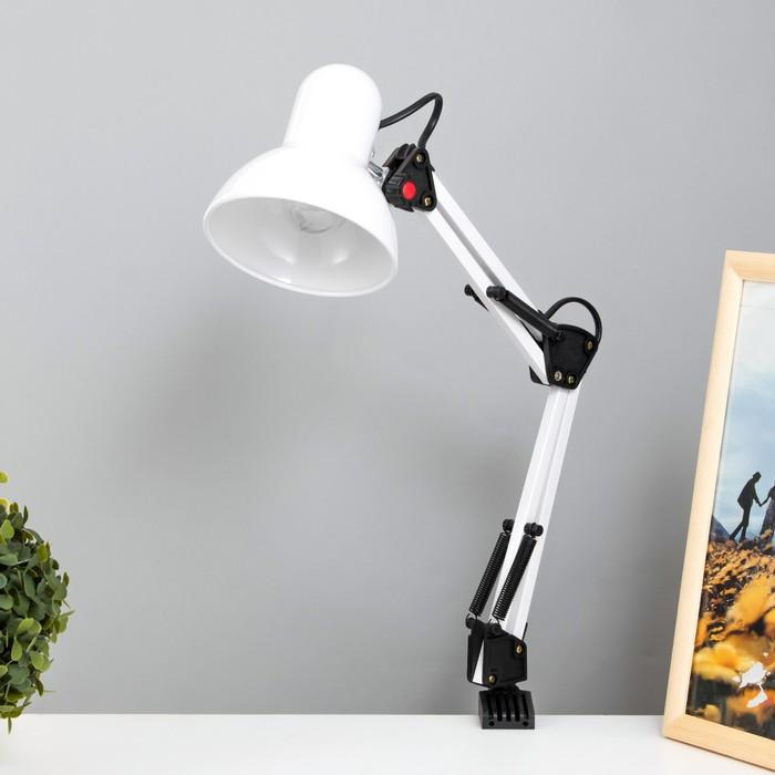 Лампа настольная Е27, h=55 см, шарнирная, на зажиме (220В) белая
