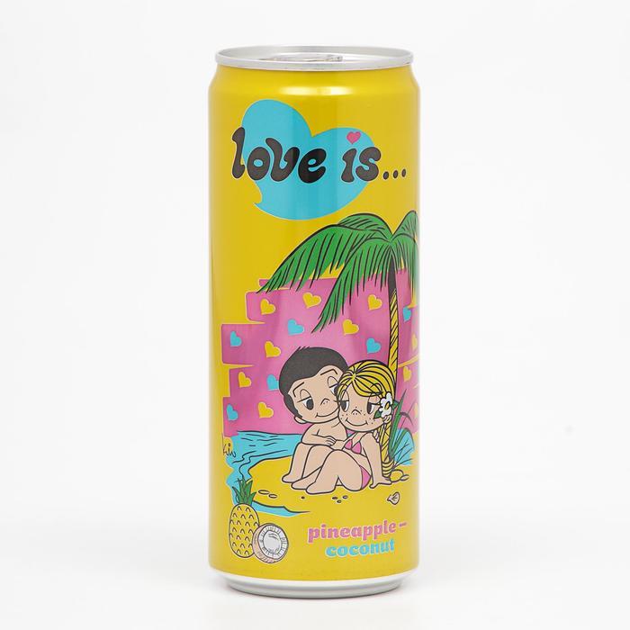 Вода газированная Love is, с ананасом и кокосом, 330 мл