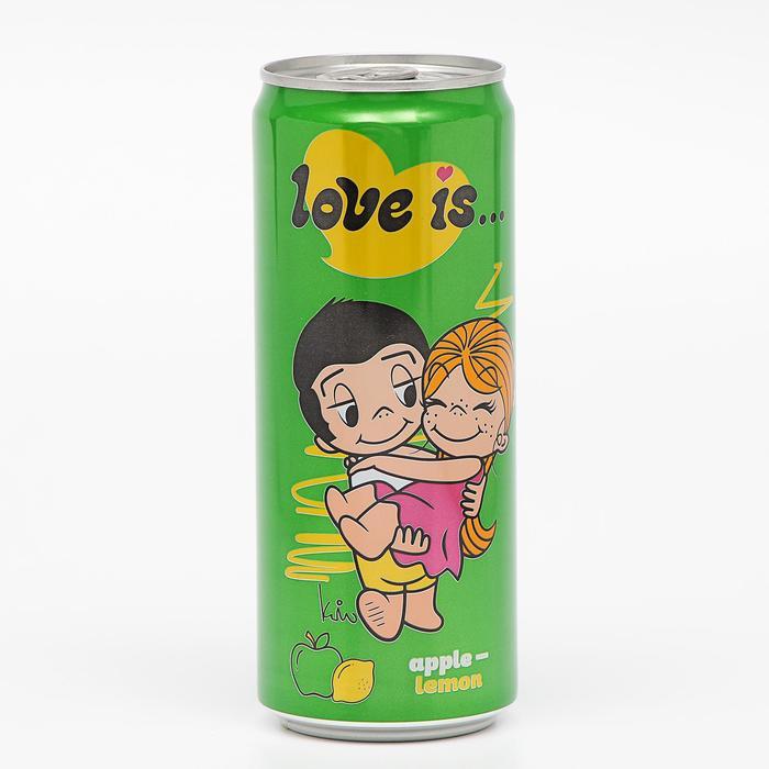 Вода газированная Love is, с яблоком и лимоном, 330 мл