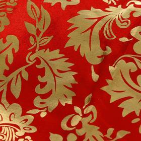 Ткань атлас золотой узор на красном Ош
