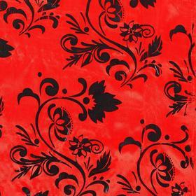 Ткань атлас красный с черным цветочным узором Ош