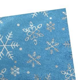 Велюр с новогодним нанесением Крупные снежинки Серебро на голубом Ош