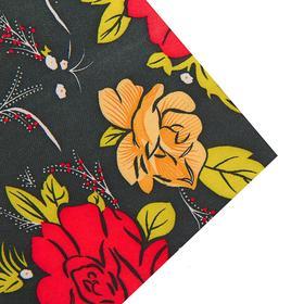 Ткань атлас красные цветы на черном, ширина 150 см Ош