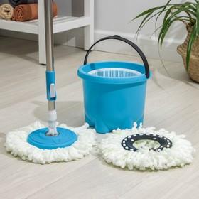 Набор для уборки мини: ведро с пластиковой центрифугой 7,2 л, швабра 113 см, запасная насадка из микрофибры, цвет МИКС Ош