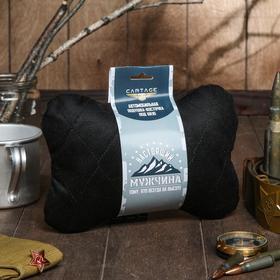 Подушка автомобильная подарочная 'Настоящему мужчине', велюр, черный, 16х24 см Ош