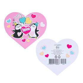"""Открытка-валентинка """"Love"""" глиттер, пингвины"""