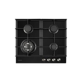 Варочная поверхность HIBERG VM 6044 B, газовая, 4 конфорки, WOK, 56х48 см, чёрная