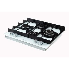 Варочная поверхность HIBERG VM 6045 W, газовая, 4 конфорки, WOK, 56х48 см, белая