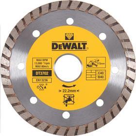 Диск алмазный отрезной Dewalt DT3702, турбо сегментный, сухой рез, универсальный, 115х22.2мм   62540