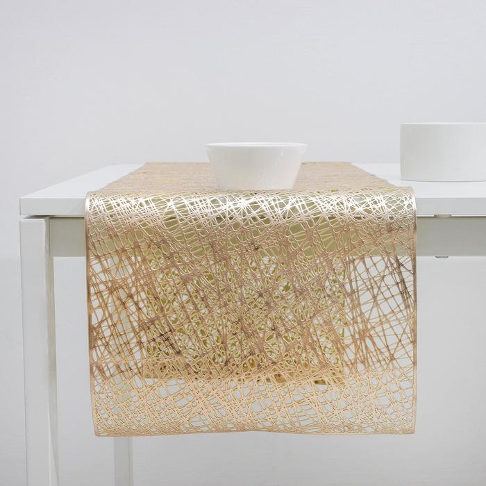 Дорожка для стола «Паутина», 33×150 см, цвет серебро