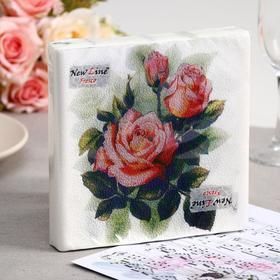 Салфетки бумажные New line FRESCO «Чайная роза», 2 слоя, 33*33 см, 20 шт.