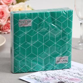 Салфетки бумажные New Line FRESCO Кубики 3D зелёные, 2-слоя 20 листов 33*33