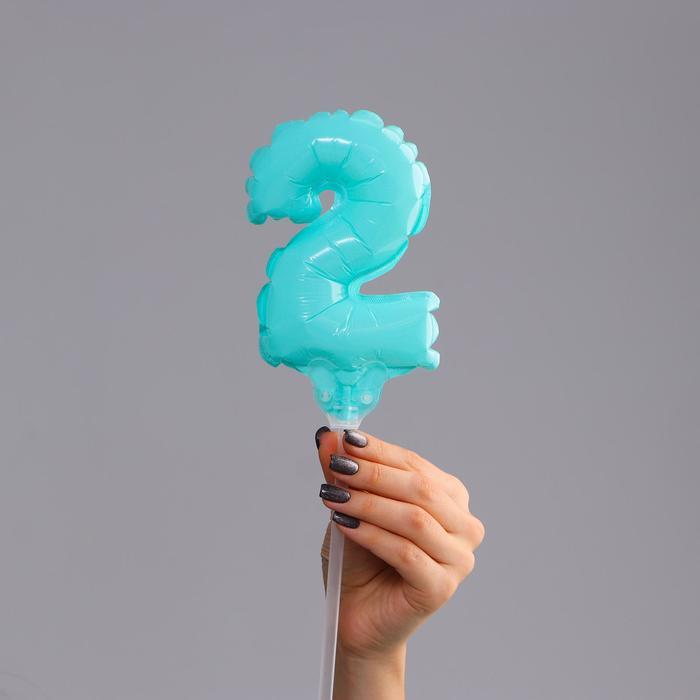 Шар-топпер 5 Цифра 2, макарун, цвета МИКС