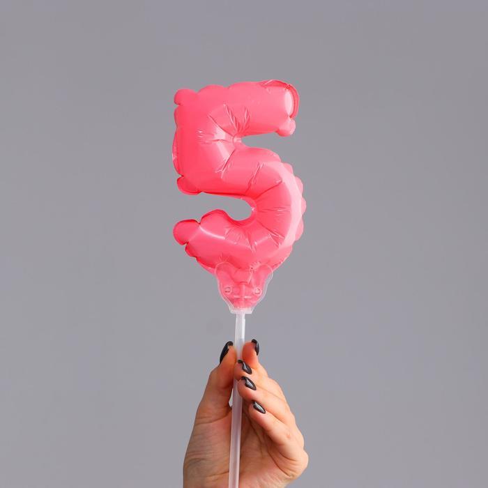 Шар-топпер 5 Цифра 5, макарун, цвета МИКС