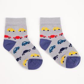 Носки детские, цвет серый рис.машинки, размер 12-14