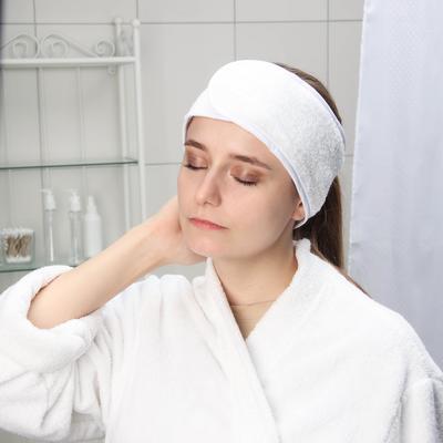 Повязка для волос на липучке Чистовье, махровая, 1 шт/уп, цвет белый - Фото 1