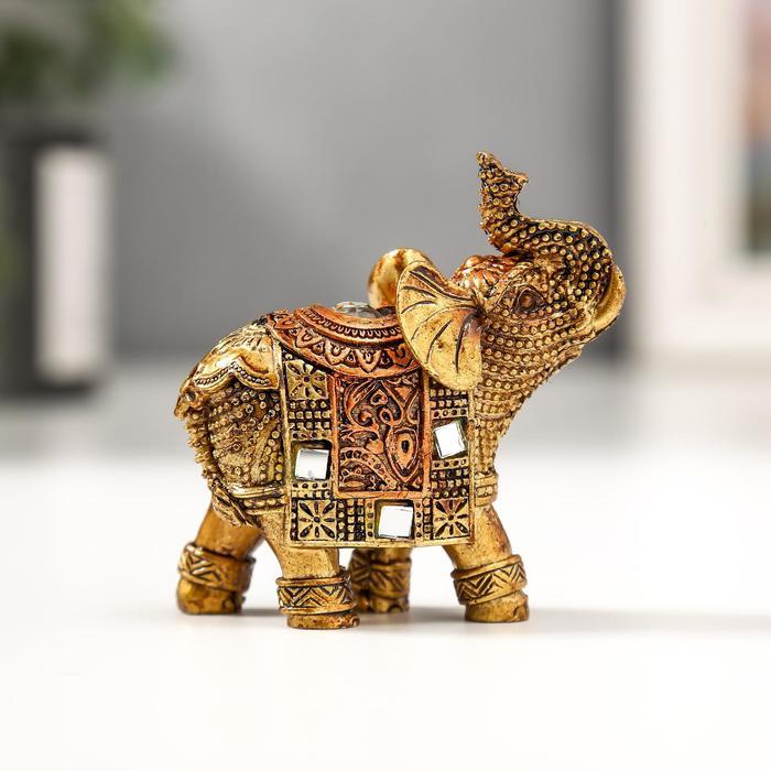 Сувенир полистоун Бронзовый слоник с попоной из арабского ковра 6,5х5,7х2,8 см