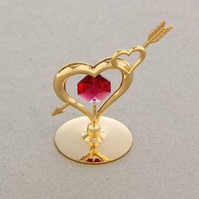 Сувенир 'Сердца пронзенные стрелой', на подставке, с хрусталиками Сваровски Ош