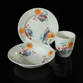 """Набор детской посуды """"Вертолётик"""", 3 предмета: тарелка 17,5 см, миска 250 мл (d=17,5 см), кружка 260 мл"""