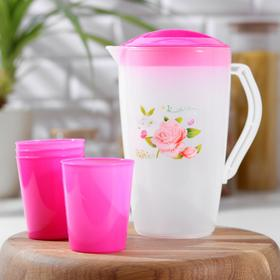 Набор питьевой 'Оазис': кувшин 1,5 л, 4 стакана 200 мл, 17х13х20 см, цвета МИКС Ош