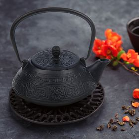 Чайник с ситом «Афродита» 800 мл, цвет чёрный Ош