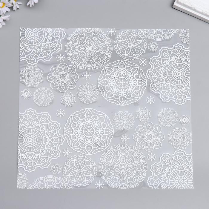 """Ацетатный лист с фольгированием """"White Napkins"""" 30,5х30,5 см"""