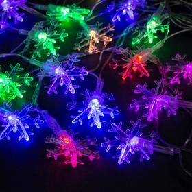 """Гирлянда """"Нить"""" 5 м с насадками """"Снежинки большие"""", IP20, прозрачная нить, 20 LED, свечение мульти, мигание, 220 В"""