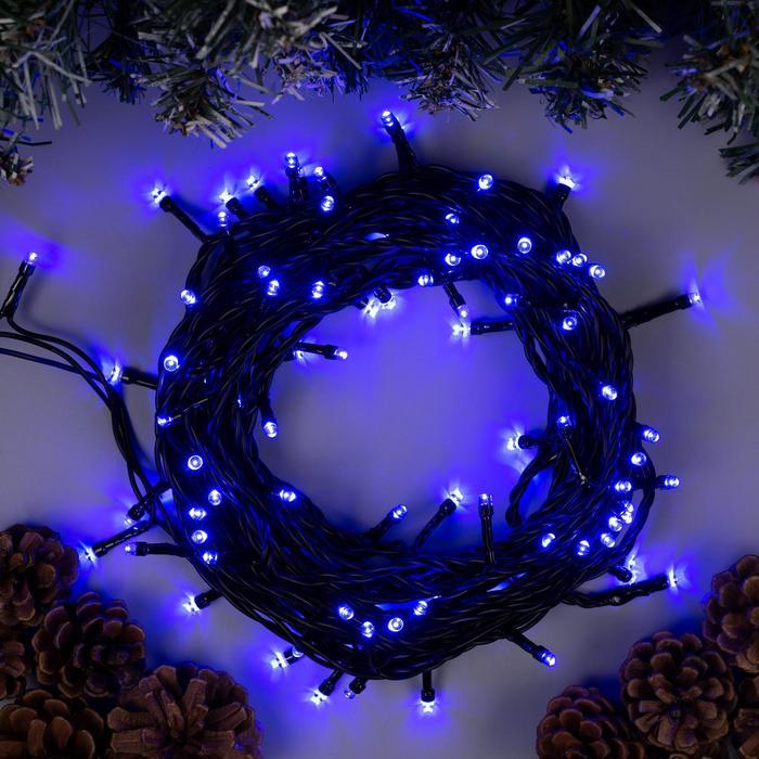 Гирлянда Нить 10 м , IP44, тёмная нить, 100 LED, свечение синее, 8 режимов, 220 В