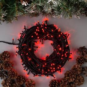 Гирлянда 'Нить' 20 м , IP44, тёмная нить, 200 LED, свечение красное, 8 режимов, 220 В Ош