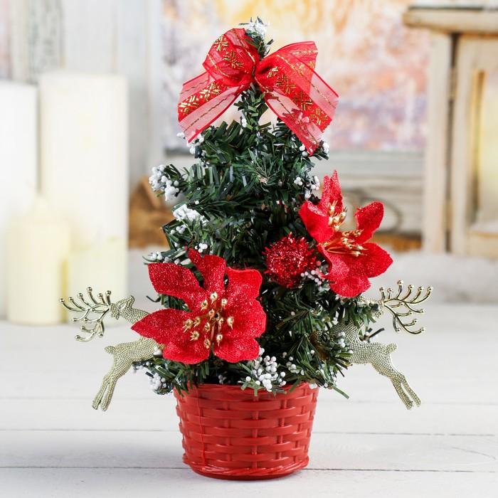 Ёлка декор 20 см со снегом красная