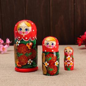 """Матрёшка 3-х кукольная """"Маша"""" с божьей коровкой, 11см, ручная роспись."""